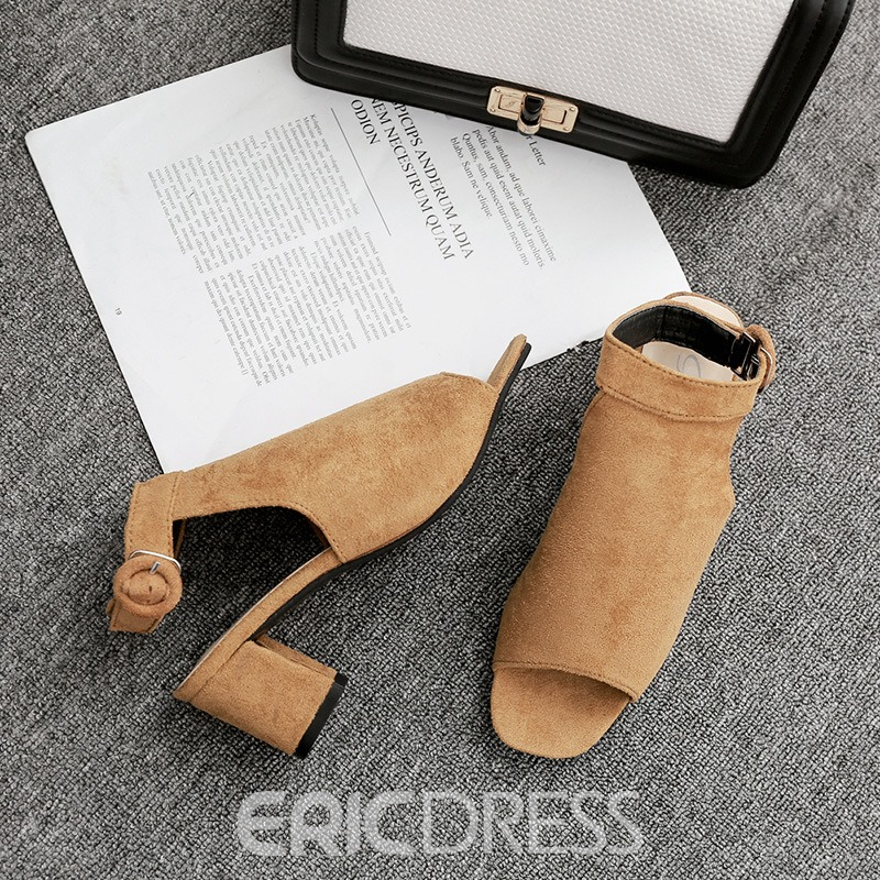 Ericdress Strappy Buckle Open Toe Chunky Sandals