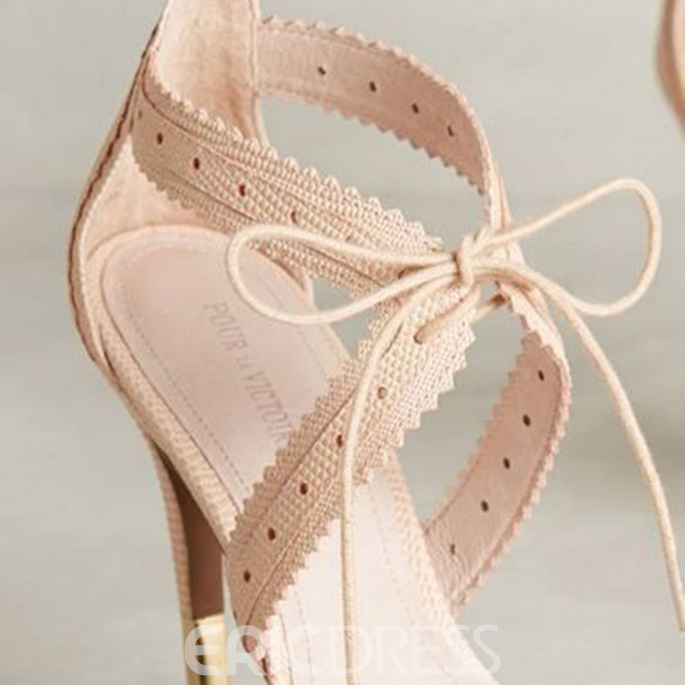 Plain Open Toe Lace-Up Heel Sandals