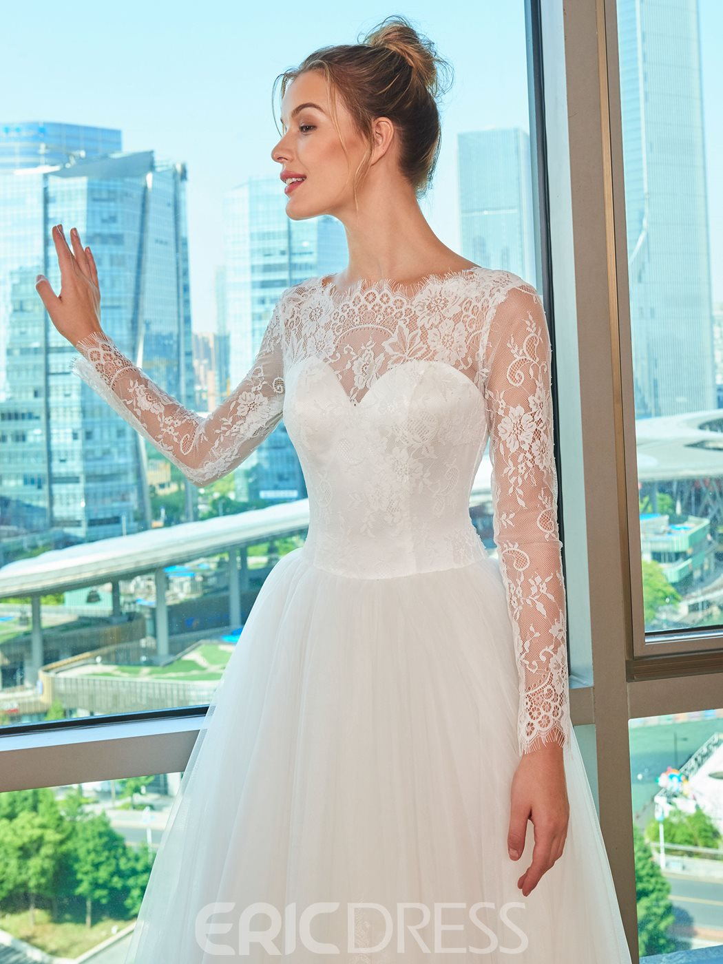 Ericdress Long Sleeves Lace Wedding Dress