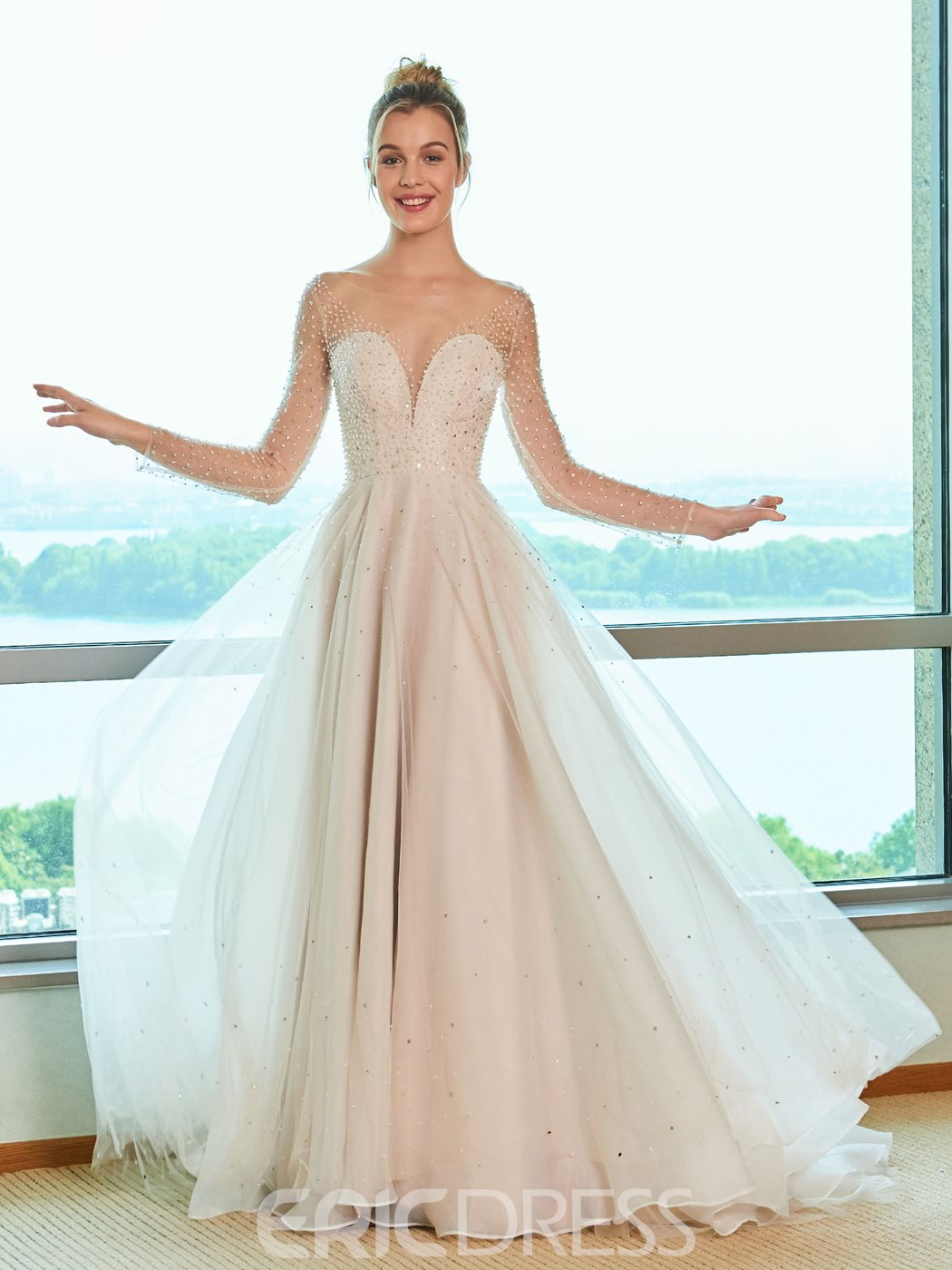 Ericdress Illusion Neckline Long Sleeves A Line Wedding Dress