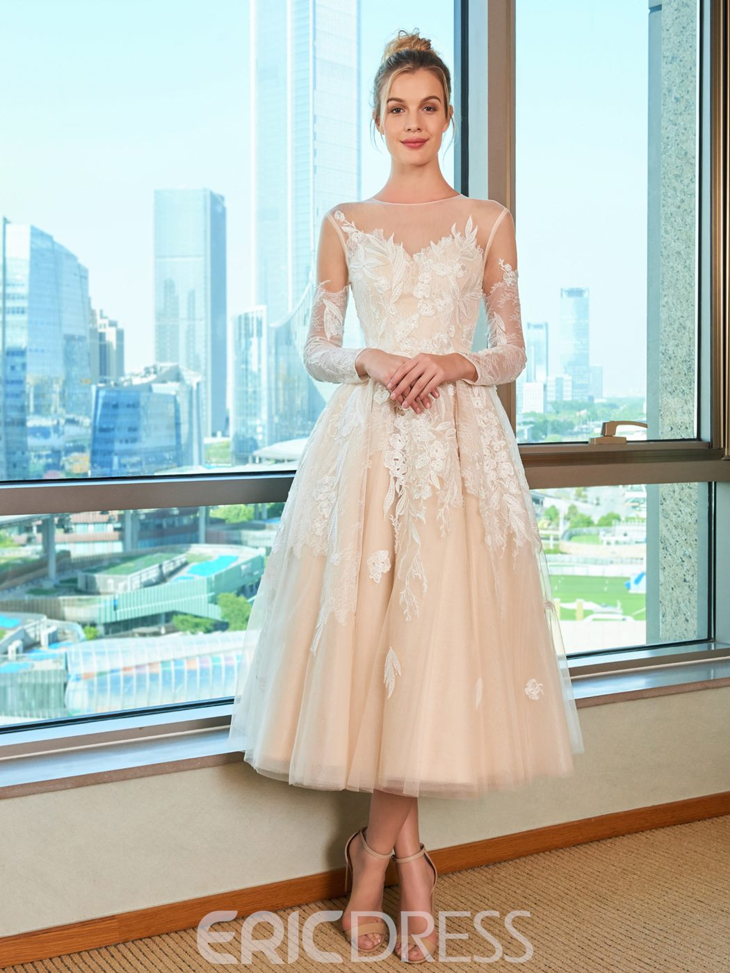 Ericdress Tulle Tea Length Wedding Dress 13297411 - Ericdress.com