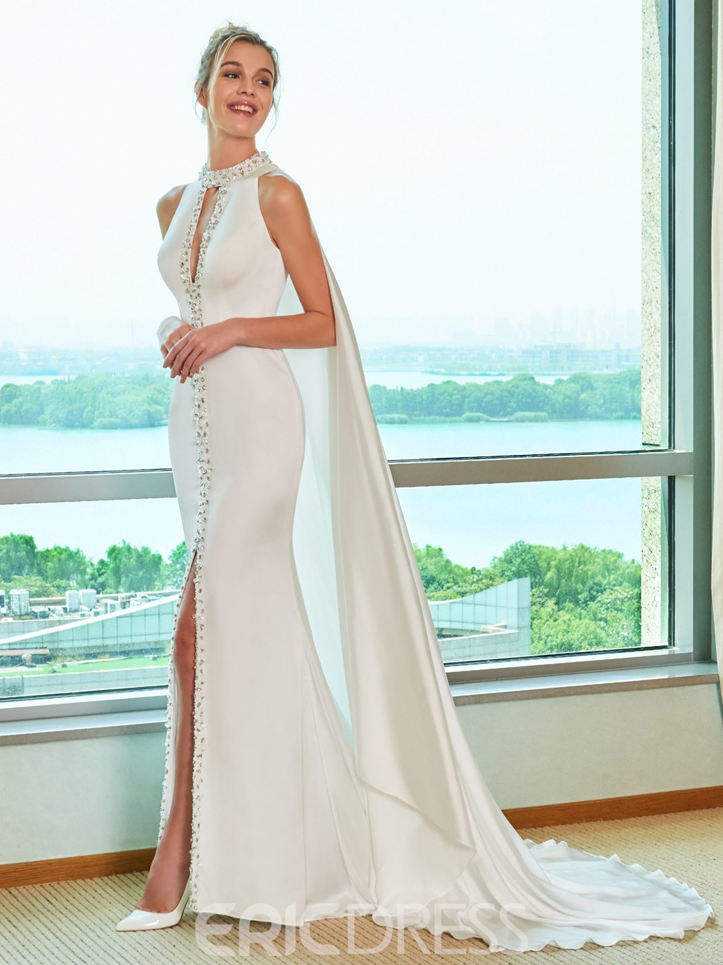 Ericdress Beading Mermaid Split-Front Wedding Dress with Train