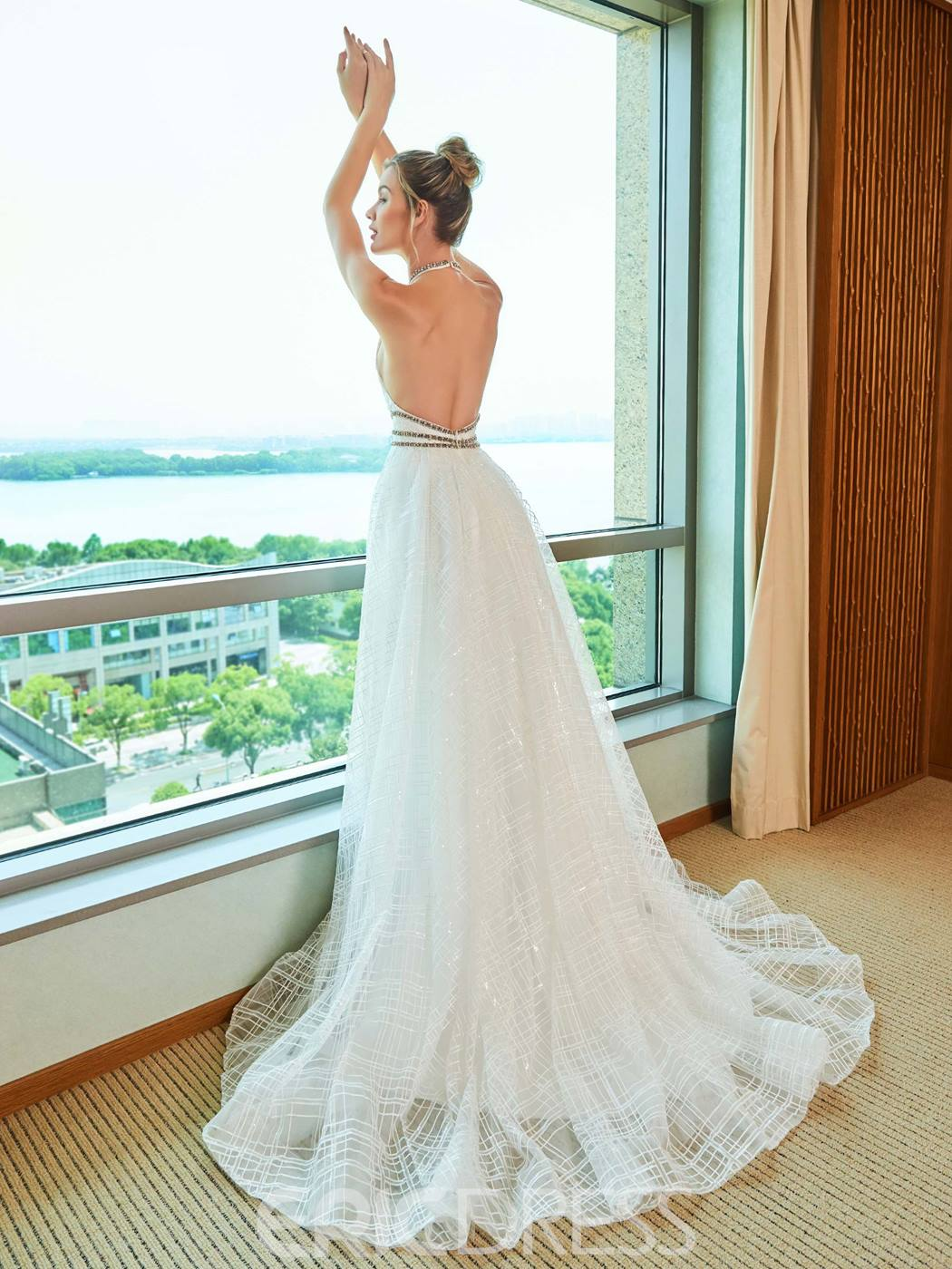 Ericdress Backless A Line Halter Lace Wedding Dress