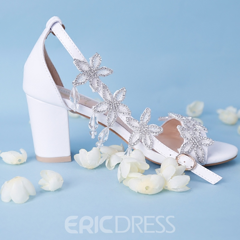 Ericdress Appliques Rhinestone Open Toe Chunky Sandals