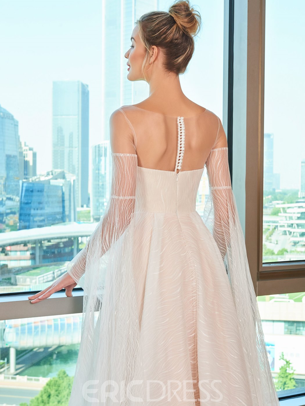 Ericdress Illusion Neckline Lace Wedding Dress