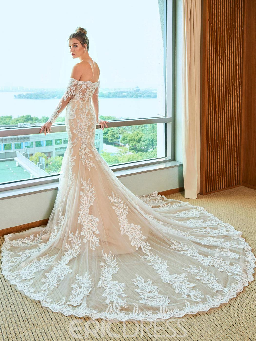Ericdress Long Sleeves Off the Shoulder Mermaid Color Wedding Dress