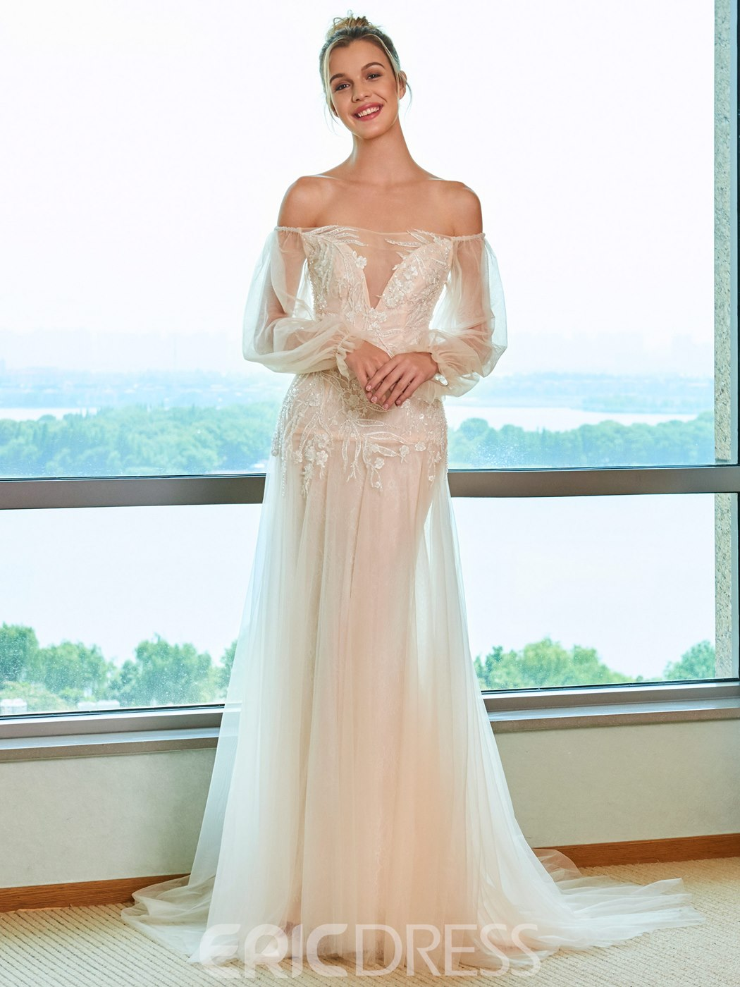 Ericdress Off the Shoulder Beading Long Sleeves Wedding Dress