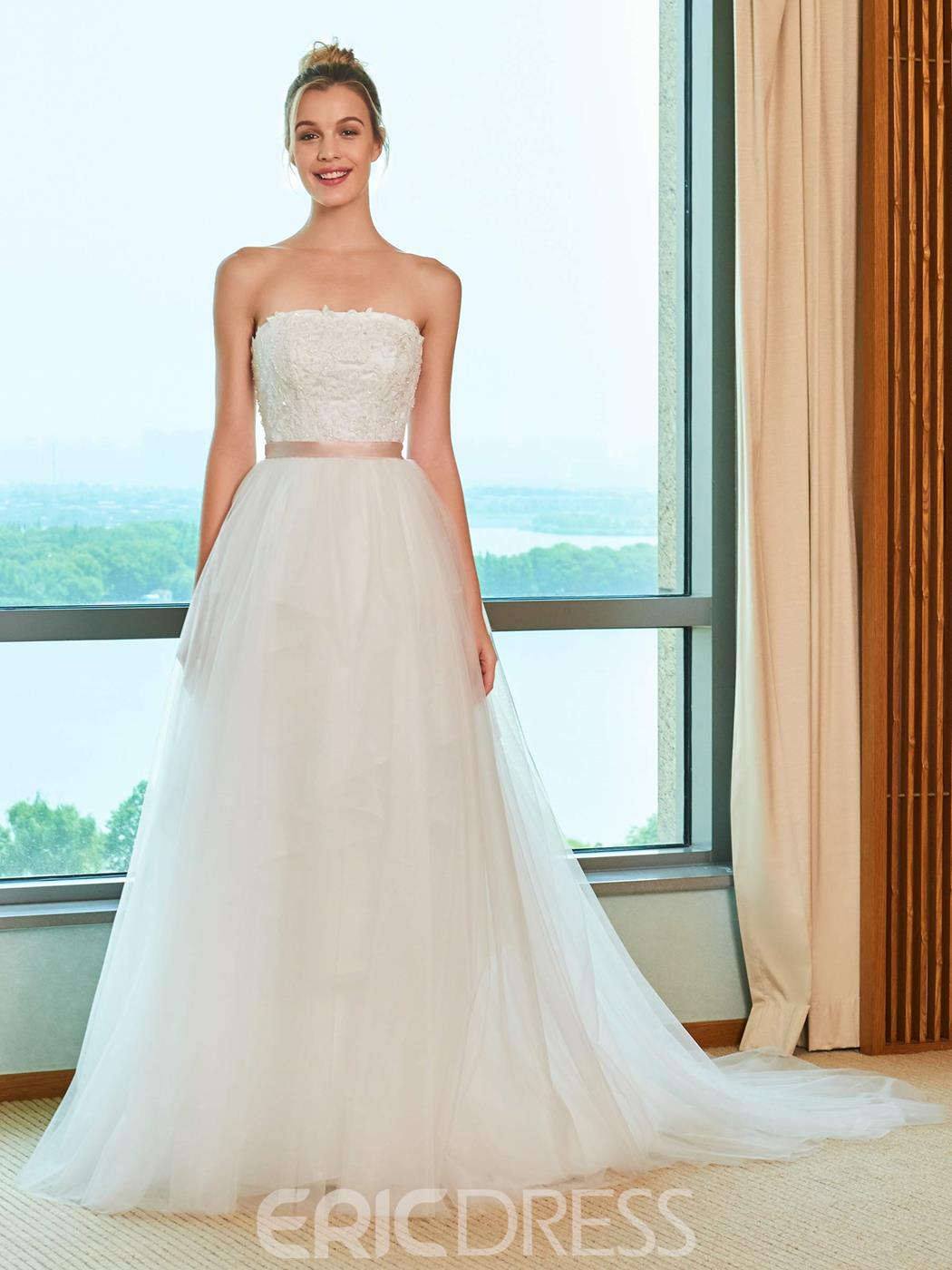 Ercdress Strapless Appliques Sequins Wedding Dress