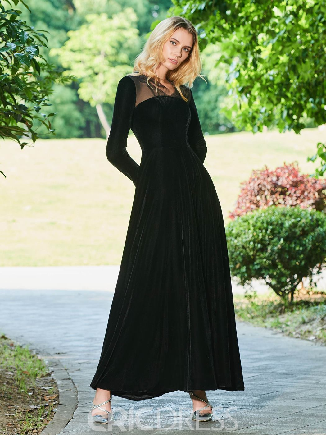 Ericdress Vintage Long Sleeve Black Evening Dress