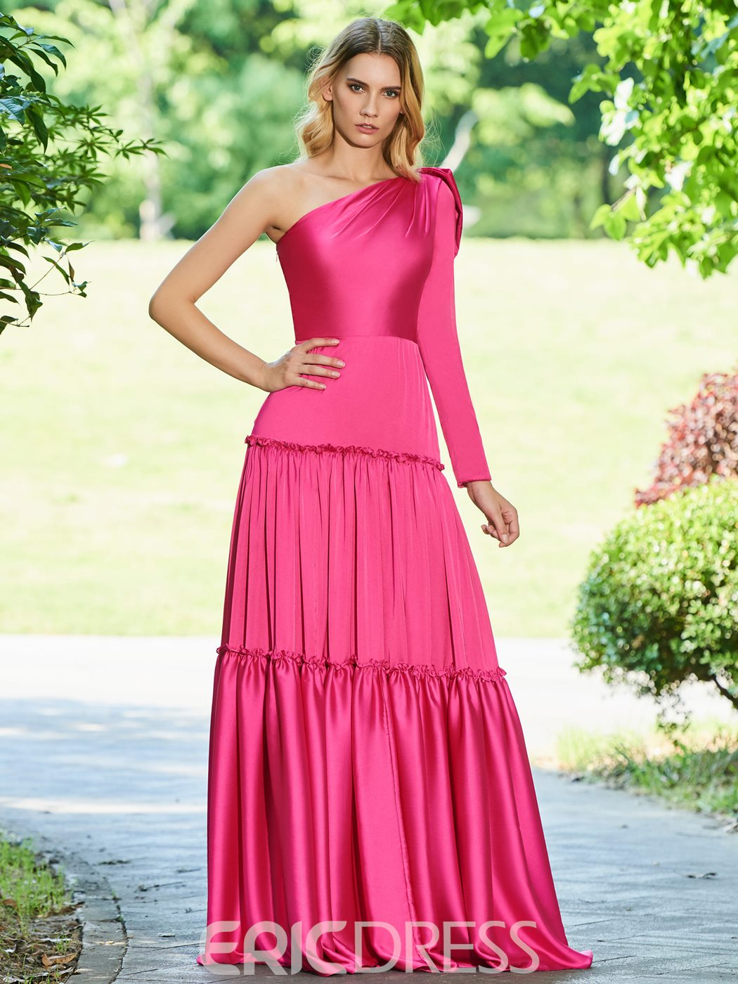 Ericdress A Line One Shoulder Floor Length Evening Dress