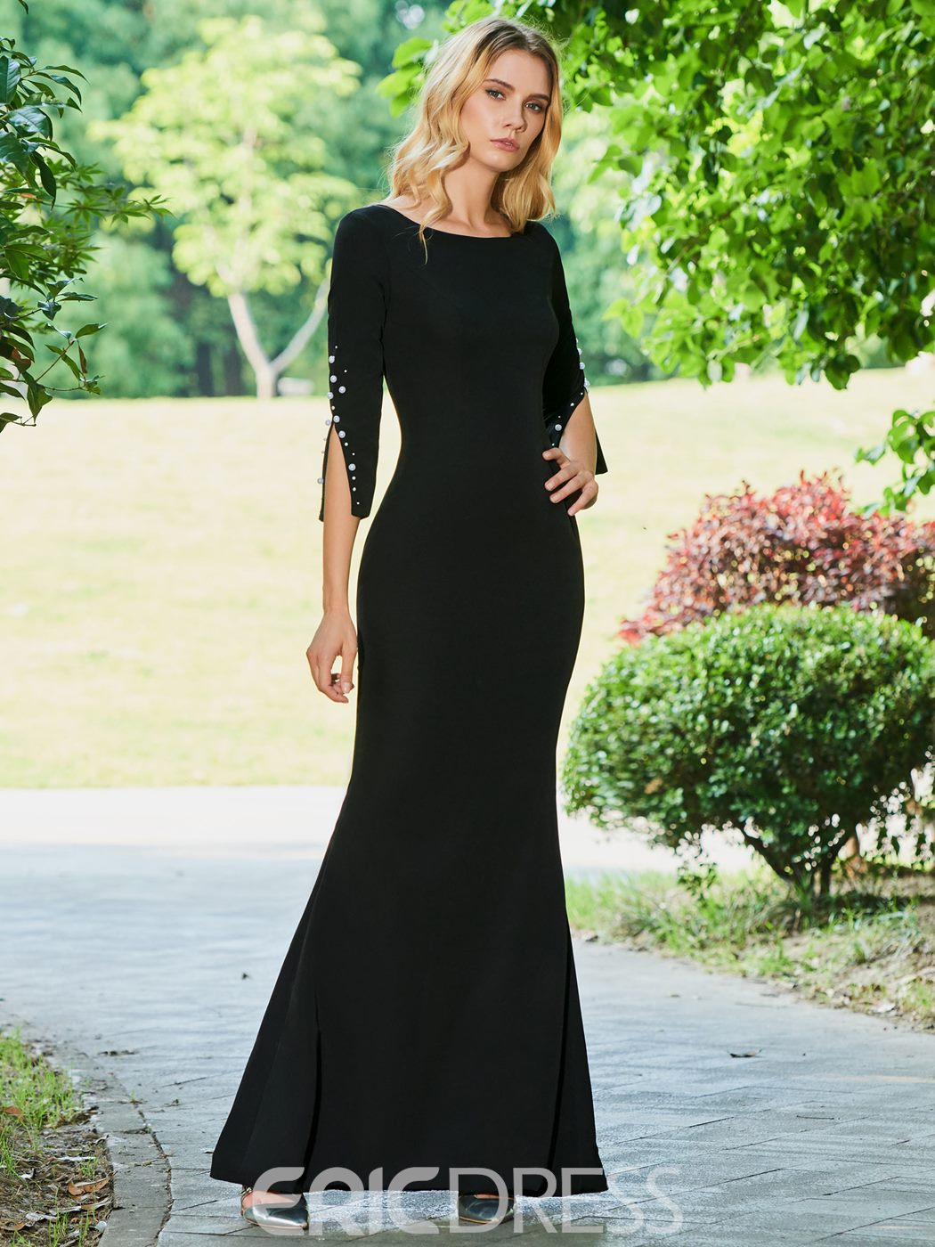 Ericdress Sheath 3/4 Sleeve Black Evening Dress