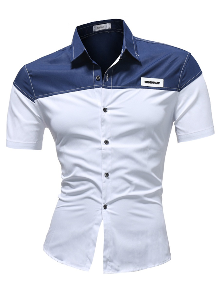 Ericdress Color Block Patchwork Slim Fit Mens Short Sleeve Shirts