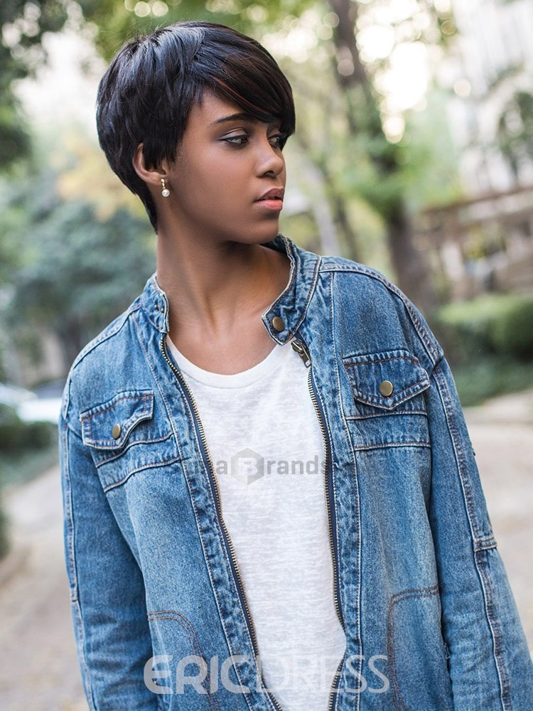 Boy Cut One Side Synthetic Hair Straight Capless Wig