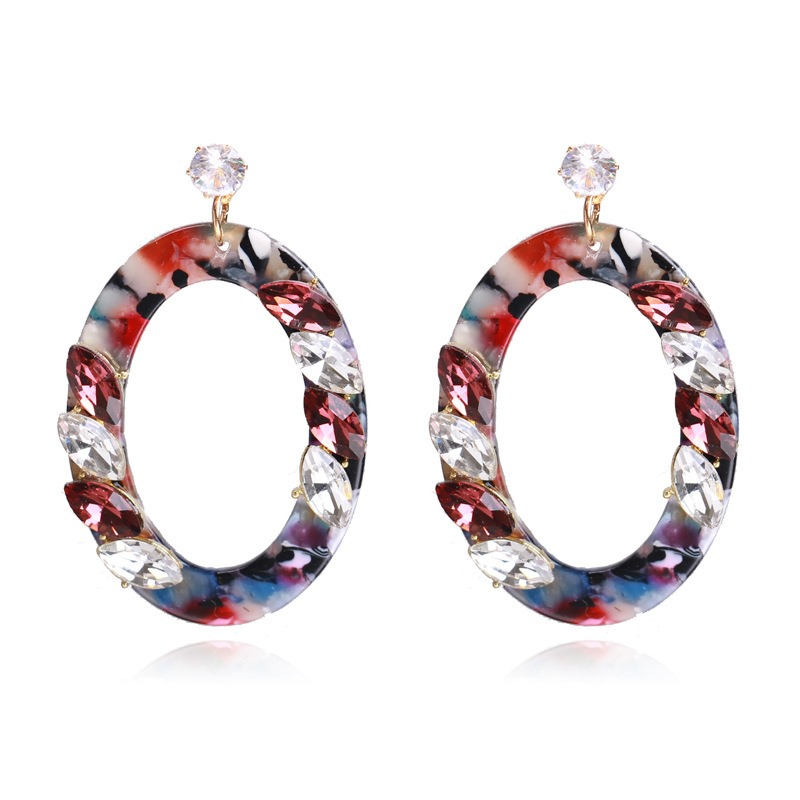 Ericdress Oval Diamanted Drop Earrings