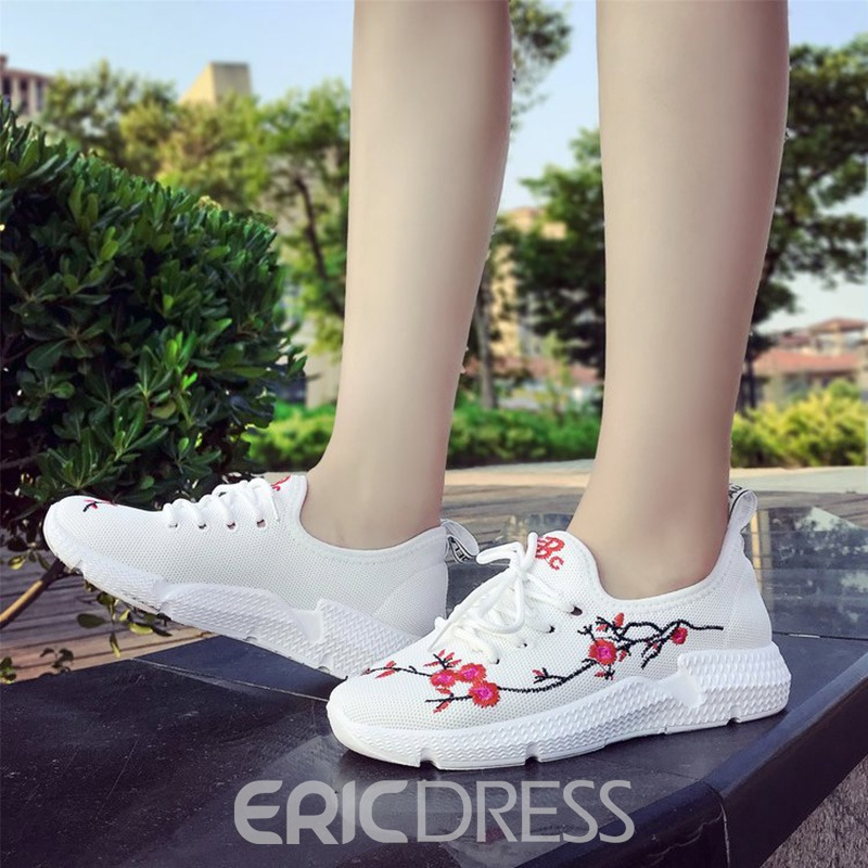 Ericdress Floral Embroidery Platform Lace-Up Flats