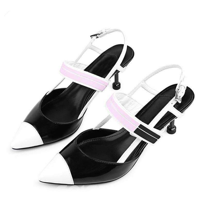 Ericdress Color Block Banquet Strappy Spool Heel Sandals