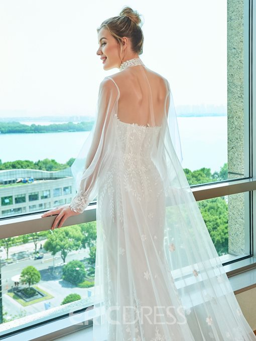 Ericdress Mermaid Strapless Lace Wedding Dress with Cape