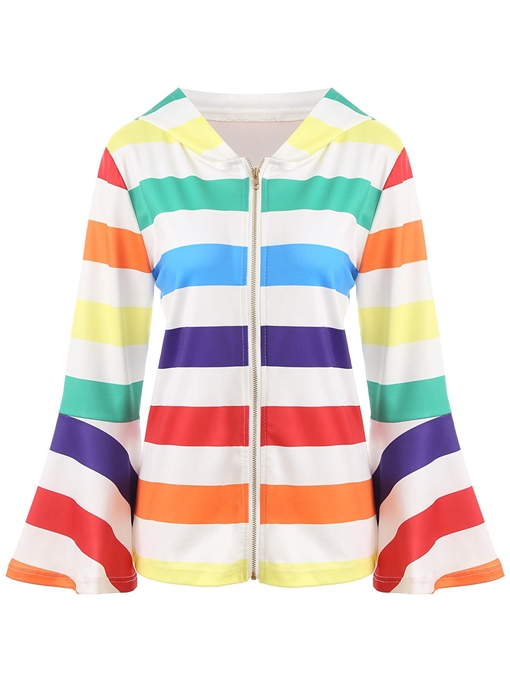 Ericdress Zipper Stripe Long Sleeves Cool Hoodie