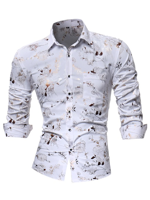 Ericdress Floral Print Slim Fit Mens Long Sleeve Casual Shirts