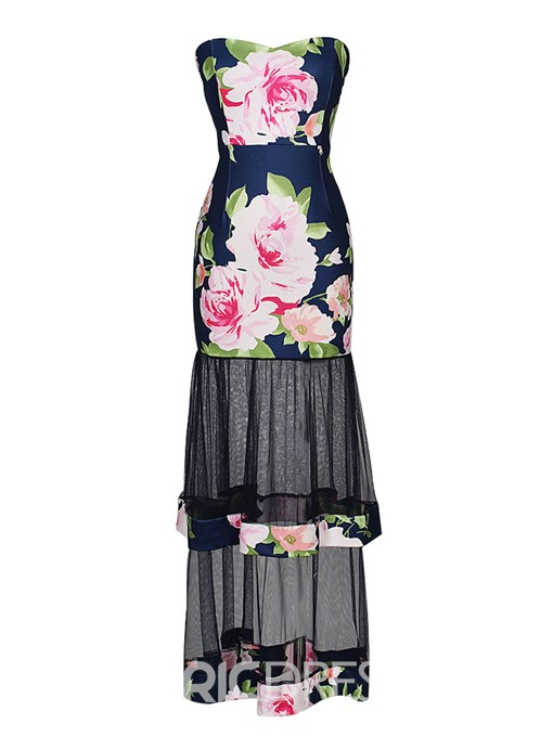 Ericdress Floral Color Block Layered Backless Casual Dress