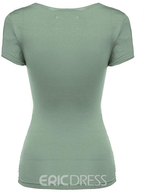 Ericdress Notch-V Hem Tunic Womens T Shirt