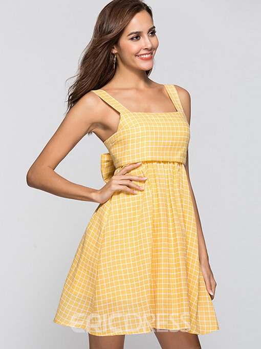 Ericdress Yellow Gingham Bowknot Lace-Up A-Line Dress