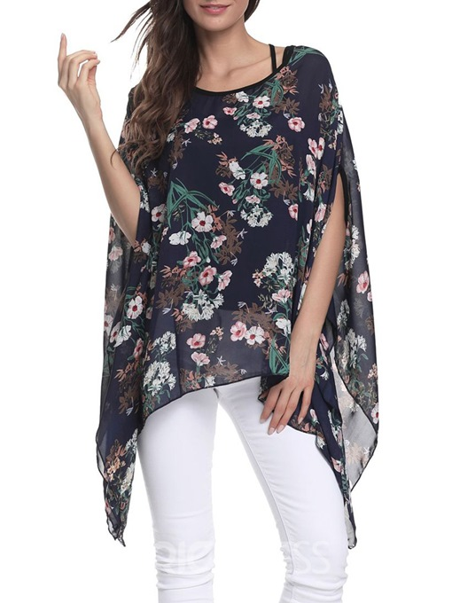 Ericdress Loose Floral Batwing Sleeve Blouse