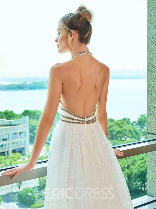 Ericdress Backless A Line Halter Wedding Dress