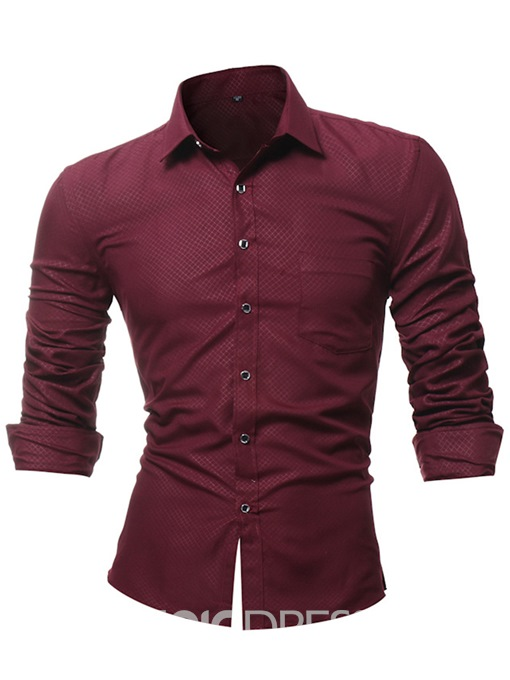Ericdress Plain Slim Fit Lapel Mens Businese Shirts