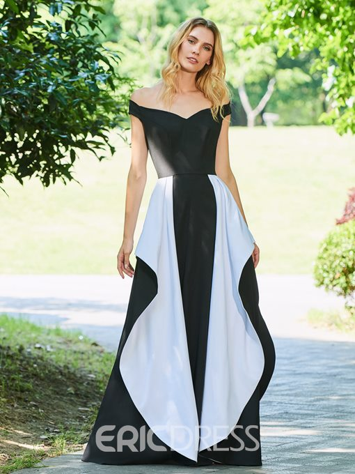 Ericdress A Line Short Sleeve Black And White Evening Dress