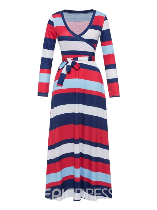 Ericdress Red V-Neck Stripe Expansion Maxi Dress
