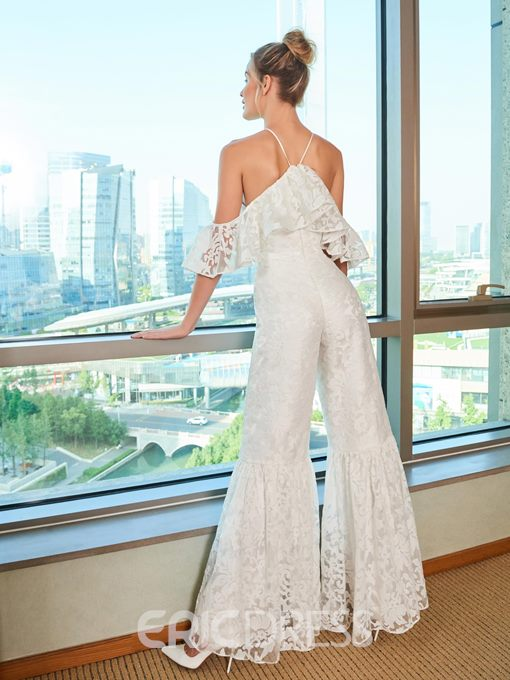 Ericdress Halter Open Shoulder Lace Wedding Jumpsuits