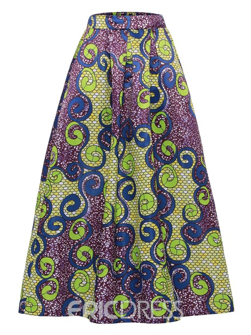 Ericdress Geometric Full A-Line Women's Skirt