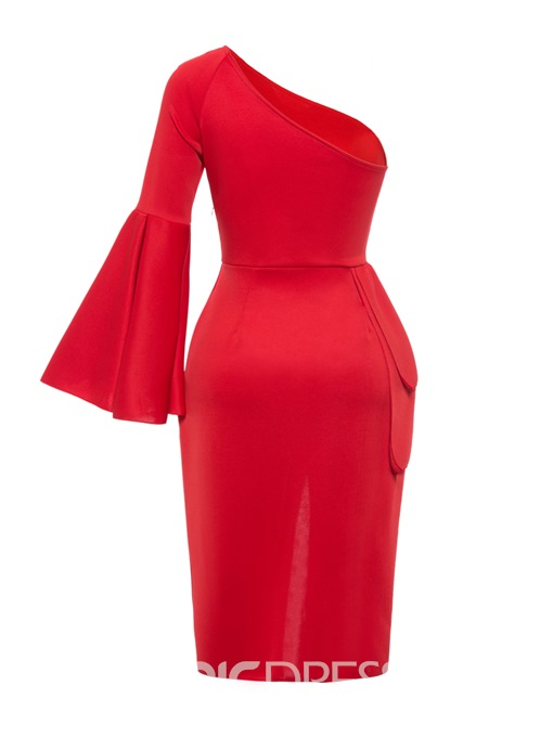 Ericdress Flare Sleeve One-Shoulder Mid-Calf Bodycon Dress