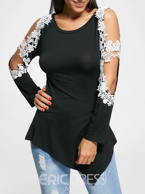 Ericdress Cold Shoulder Roll-up Asymmetric Lace Womens T Shirt