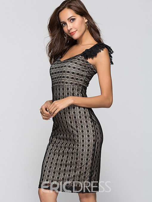 Ericdress V-Neck Lace Pullover Sexy Bodycon Dress