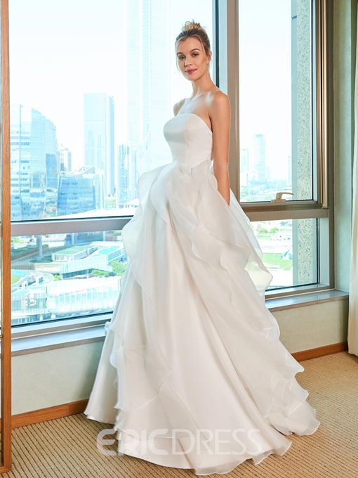Ericdress Strapless A Line Ruffles Outdoor Wedding Dress
