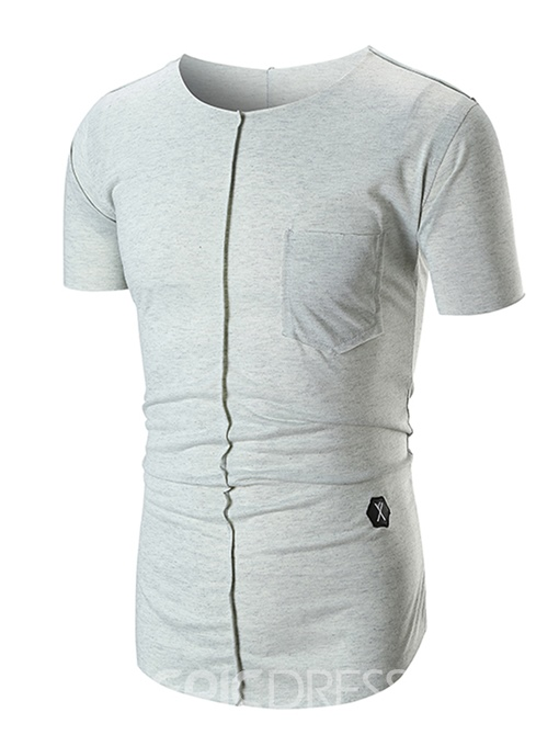 Ericdress Plain Loose Scoop Mens Summer T Shirt With Pocket
