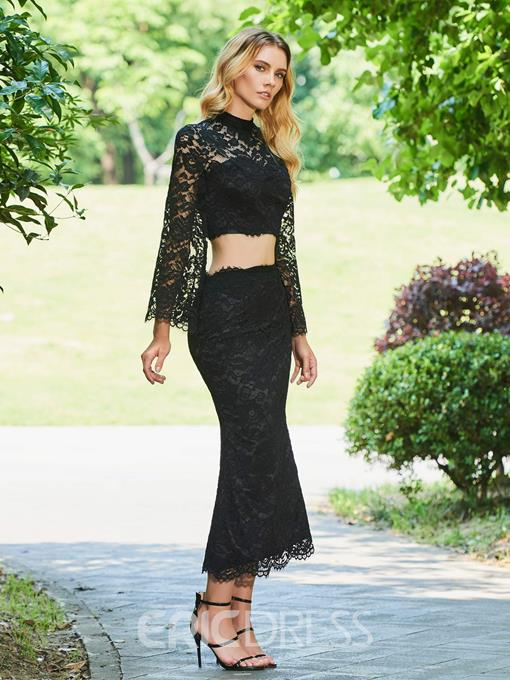 Ericdress Sheath High Neck Lace Two-Piece Black Cocktail Dress