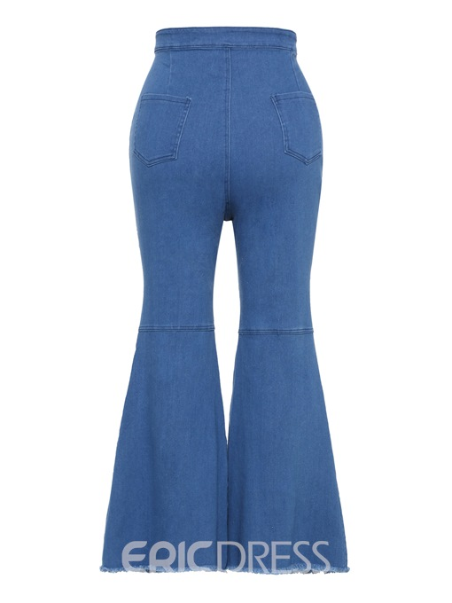 Ericdress Plain Denim Wide Leg Women's Jeans
