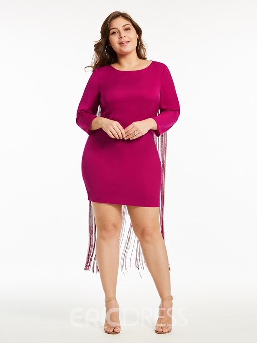 Ericdress Plus Size Tassel Round Neck Three-Quarter Sleeve Plain Bodycon Dress