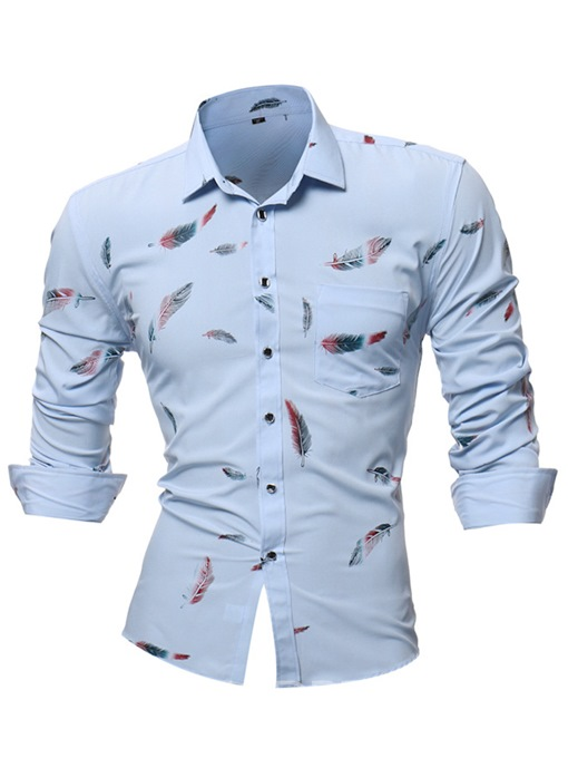 Ericdress Floral Print Slim Fit Mens Long Sleeve Shirts