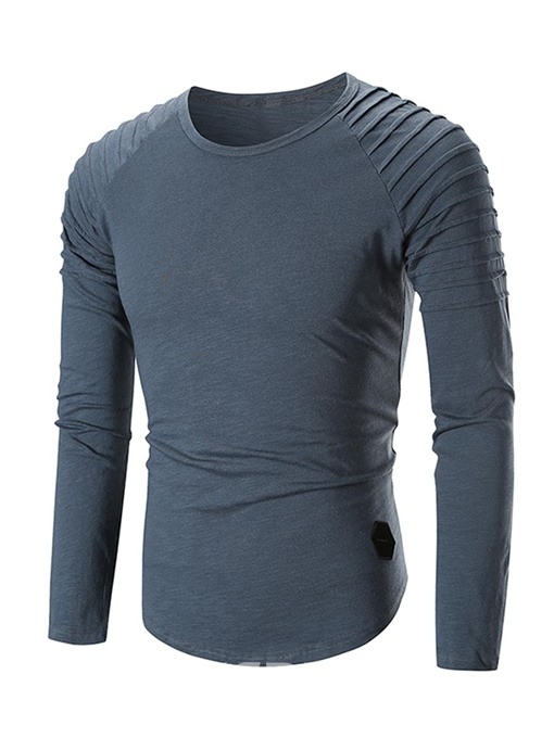 Ericdress Plain Slim Fitted Long Sleeve Mens Scoop T Shirts