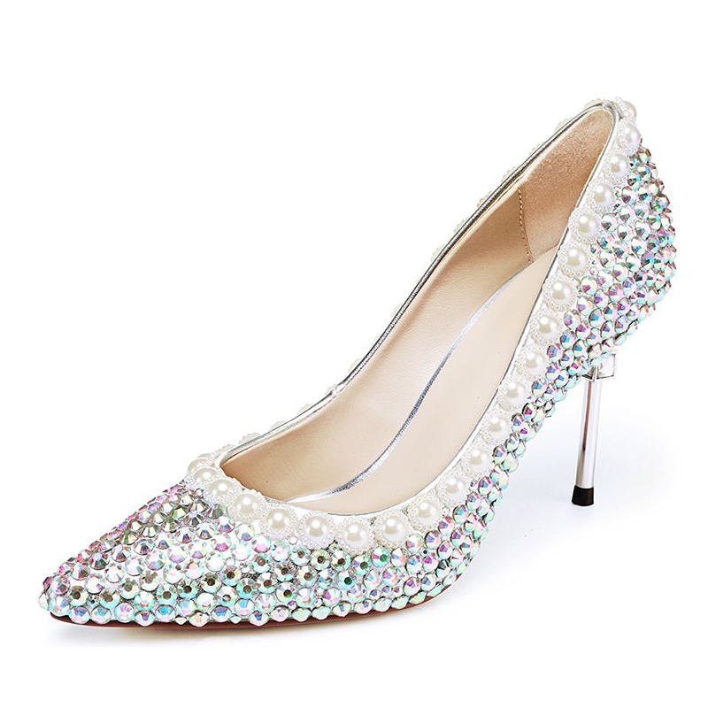 Ericdress Beads Slip-On Stiletto Heel Pointed Toe Pumps