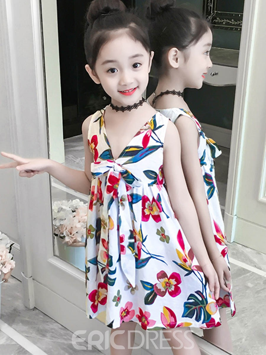 Ericdress V-Neck Floral Printed A-Line Girl's Beach Dress