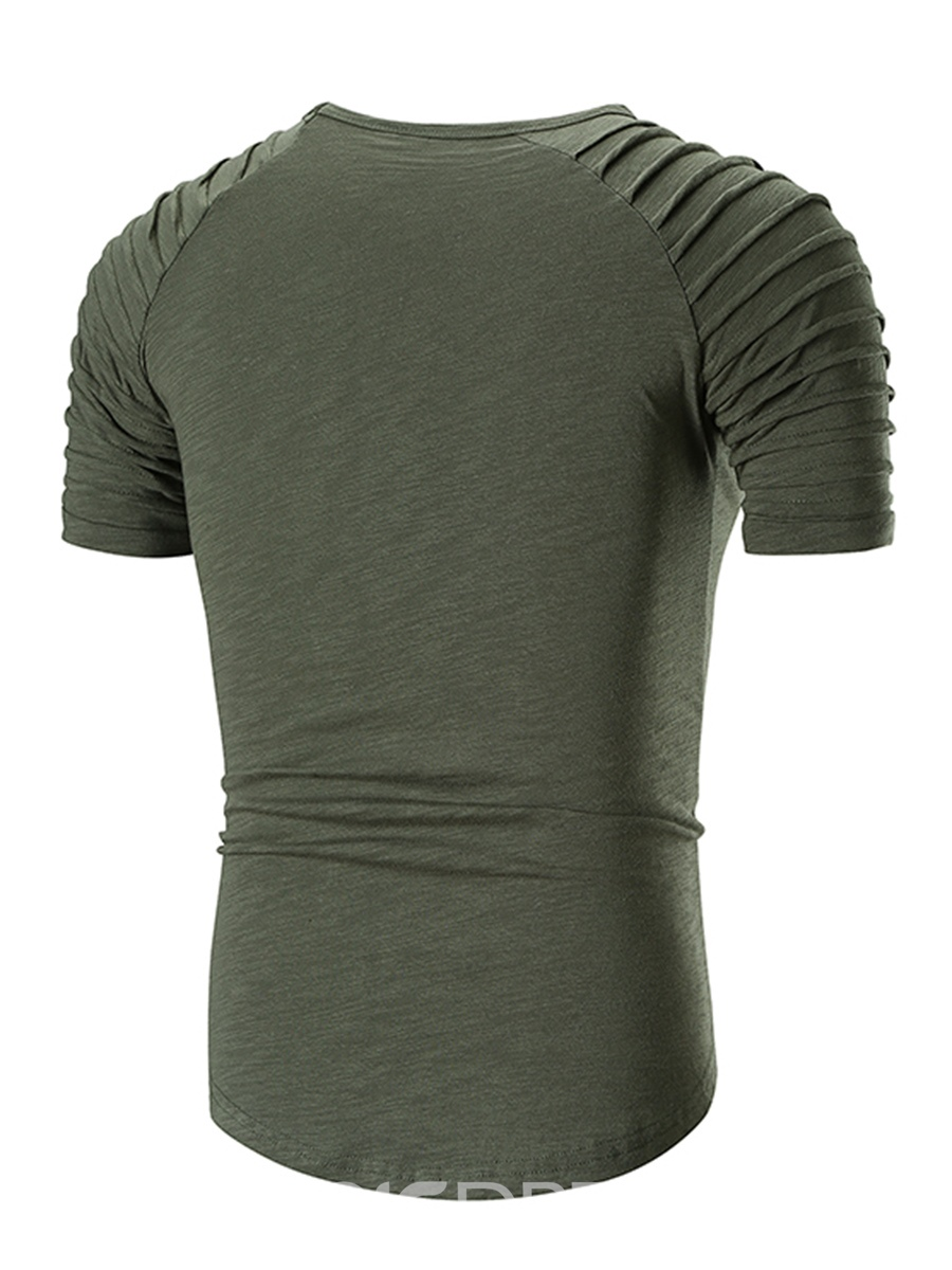 Ericdress Plain Loose Short Sleeve Mens Casual Scoop T Shirt