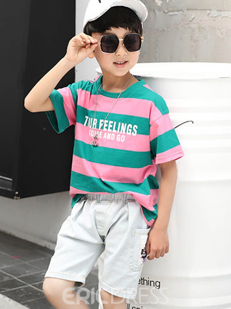 Ericdress Stripe Color Block T Shirt & Shorts Boy's Outfits