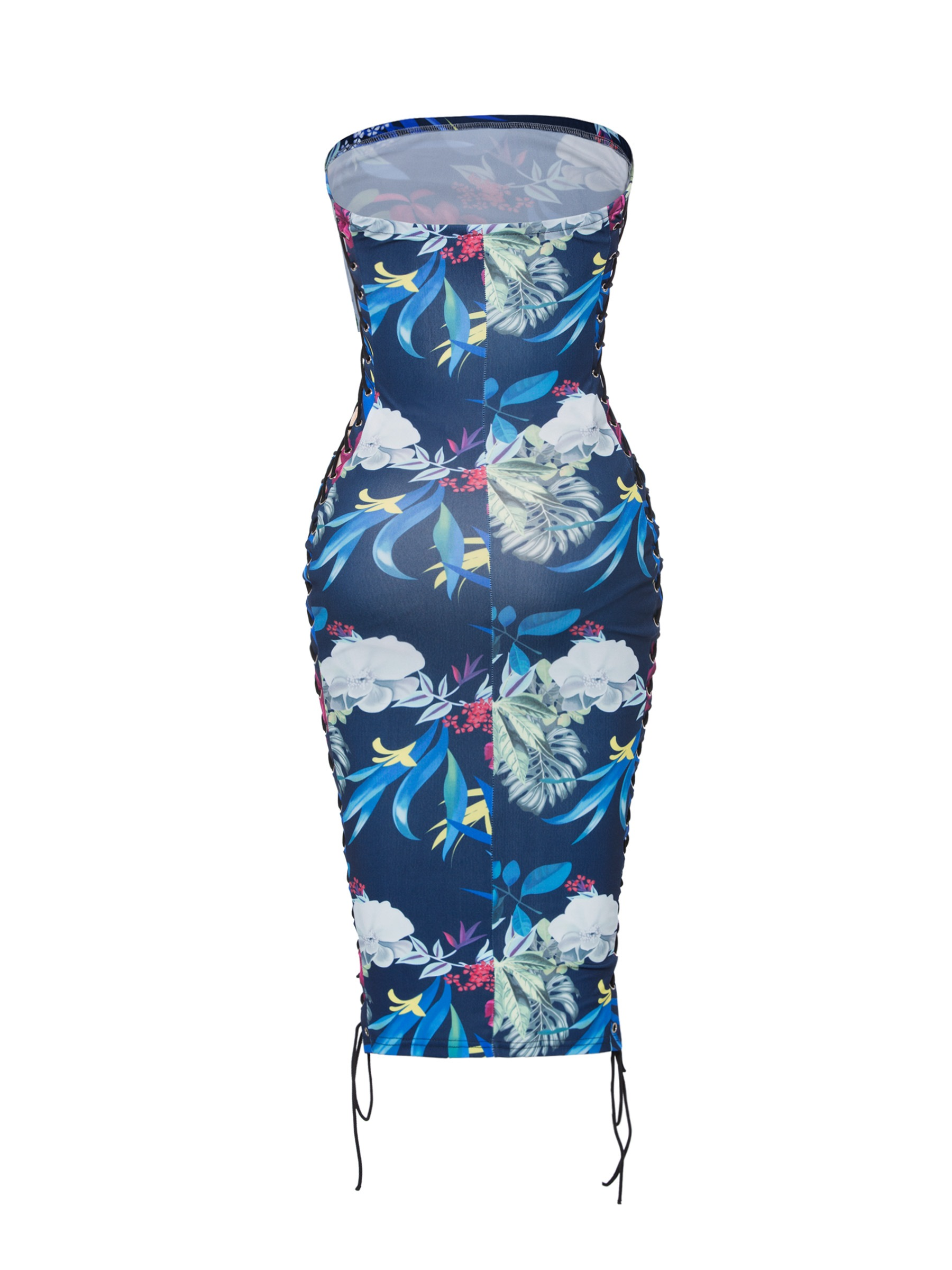 Ericdress Blue Floral Straples Hollow Backless Lace-Up Bodycon Dress