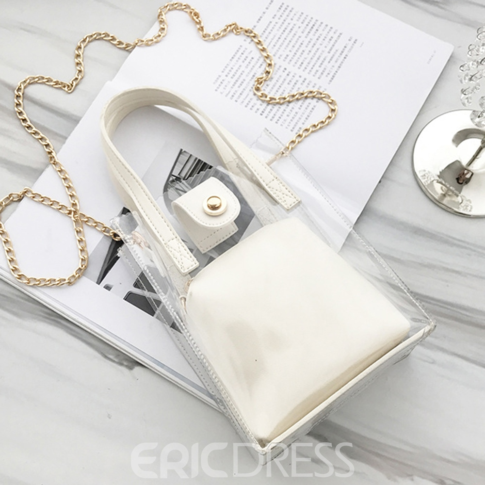 Ericdress Occident Style PVC Chain Tote Bag