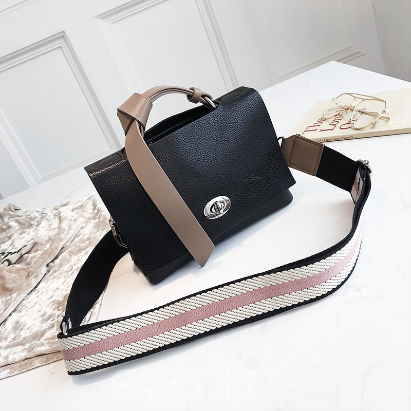 Ericdress Plain PU Casual Versatile Crossbody Bag